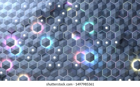 Abstract background of futuristic surface with light emitting hexagons. 3D render / rendering