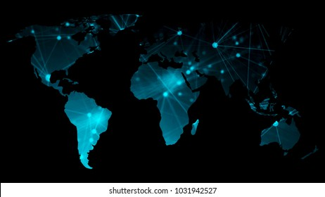 Abstract background with futuristic world map. Technology concept backdrop. 3d rendering digital background