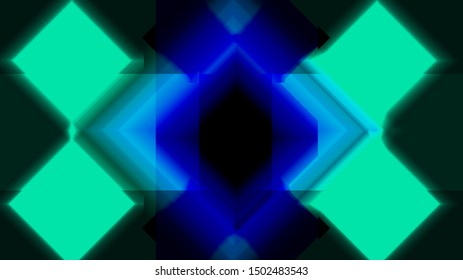 abstract background of geometric shapes and bluish neon lights with gradient