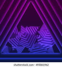 Abstract background with glowing geometric shapes (pyramids). Neon music style. 3D rendered background