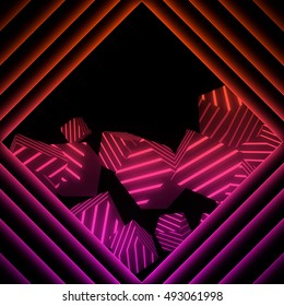 Abstract background with glowing geometric shapes (cubes). Neon music style. 3D rendered background