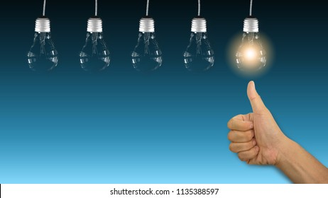 Abstract background good successful innovation digital business idea use light bulb to inspire motivation strategy thinking planning of future creative achievement concept
