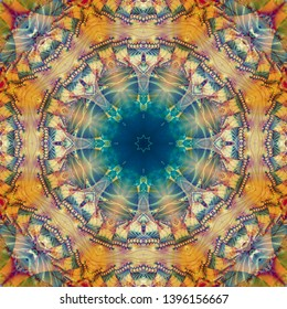 Abstract background gothic kaleidoscopic illustration. Bright flower. Seamless pattern.