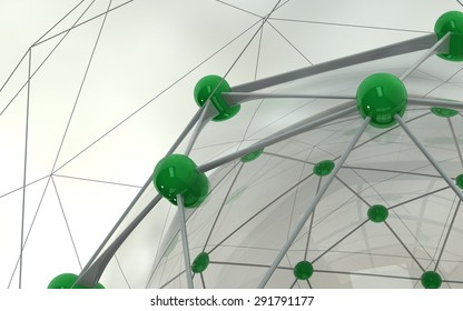 Abstract background. Green connecting dots on white background