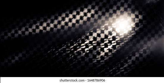Abstract background in grunge style, there is blur and grain. Elements of a racing flag are depicted. The concept of superiority, speed, desire for victory, racing.