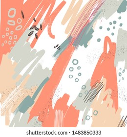 Abstract background hand drawing. Brush, marker, pencil stroke pattern. Abstract background. Memphis vintage, retro style. Children, kids sketch drawing. Orange, beige, gray, black, white colors.