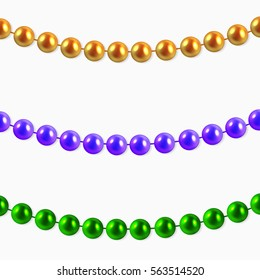 Abstract  Background with Hanging 3D  Garlands purple, gold, green beads. Set for Celebratory Design, Xmas Holiday greeting card. Mardi gras decorations, design element. illustration