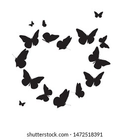 Abstract Background with Heart Symbol made from Butterfly.  Illustration
