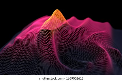 Abstract background with honeycomb structure in red and orange. 3D render/ rendering