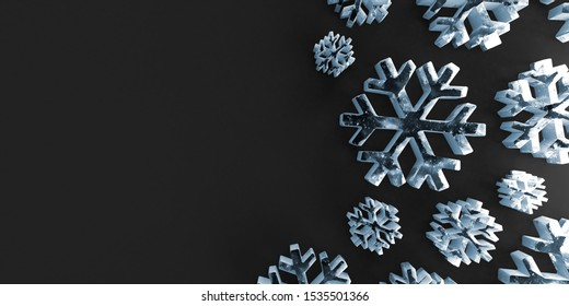 Abstract background of Icy Snowflakes Icon on black wall. 3D Rendering