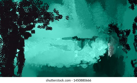 Abstract background illustration, colorful lake landscape with trees, brush strokes