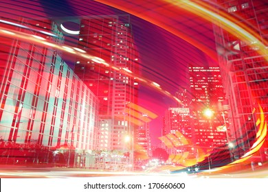 Abstract background illustration of fast traffic motion in  a city at night. Photos of Miami Florida used in the design are from my collection.