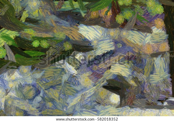 abstract background illustration with paint strokes and splashes