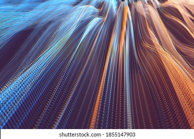 Abstract background image concept. Colorful mesh, interconnected lines. Cloud computing concept. 3D illustration.
