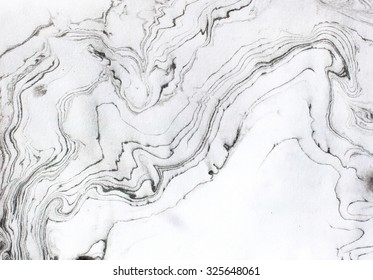 Abstract background. Ink marble texture. Grey, black and white.