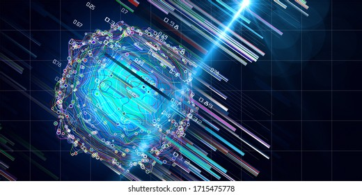 Abstract background  of layered analysis curve paths data. Big data. Noise sphere with color curves, blurred lines and lens effects.  Banner for business and science design.