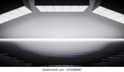 Abstract background with light box on top. 3d rendering.