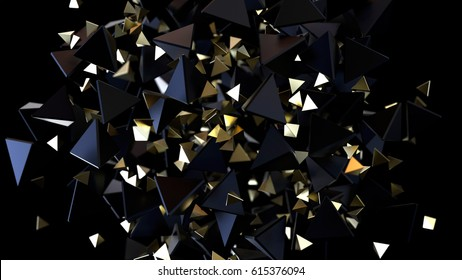 Abstract background macro chaotic  particles. 3d rendering