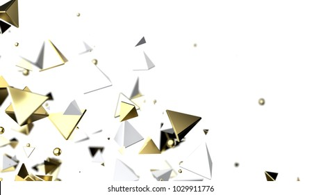 Abstract background macro particles. 3d rendering white and gold
