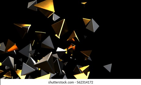 Abstract background macro particles. 3d rendering black and gold piramid
