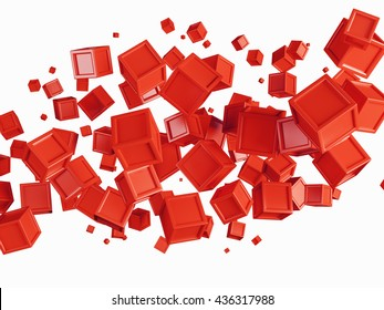 Abstract background made of red flying boxes isolated over white bg. Copy space. 3d rendering.