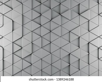 Abstract background made of silvery black Triangle of different height bright light. Technology Sci-Fi background. 3d rendering - Illustration