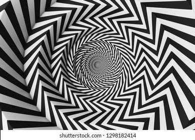 Abstract background made of white and black concentric circles. Concept of creativity and art. 3d rendering