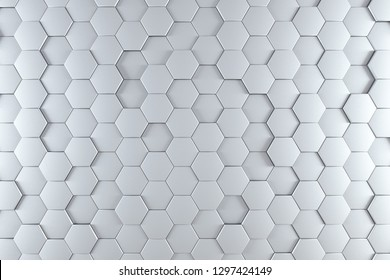 Abstract background made of white and  silvery metal hexagons of different height with blue and cyan light. Technology Sci-Fi background. 3d rendering - Illustration
