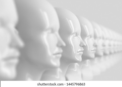 Abstract background with many identical out-of-focus female doll faces, one of which is in focus 3D illustration