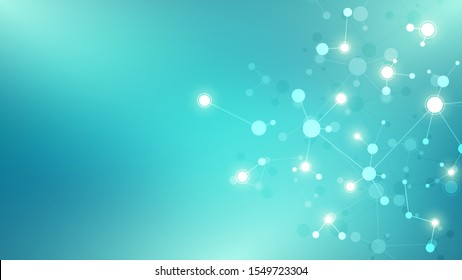 Abstract background of molecular structures. Molecules or DNA strand, genetic engineering, neural network, innovation technology, scientific research. Technological, science and medicine concept