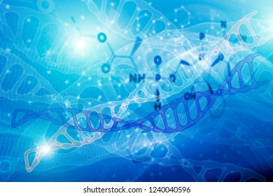 Abstract background with molecule DNA structure. scientific medical formulas, concept of error, instability of hemical compounds