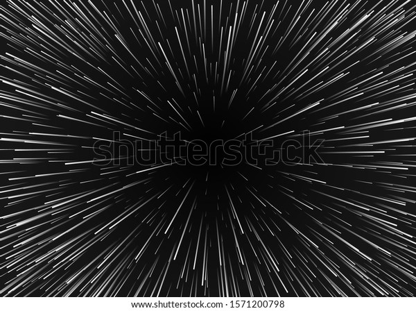 Abstract background motion in cosmos. Travel in spase with super speed. Blurred stars light in lines. Vector illustration