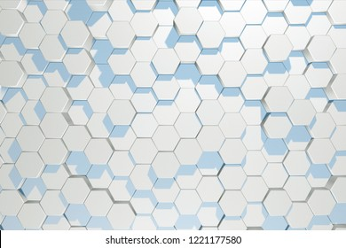 Abstract background of moving hexagons in random order 3d illustration