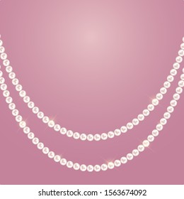 Abstract background with natural pearl garlands of beads.  illustration.