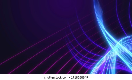 Abstract background with neon lines.Light neon waves. Background from stripes.3d rendering,illustration.