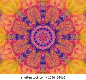 Abstract background orange kaleidoscopic illustration. Bright flower. Seamless pattern.