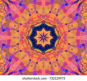 Abstract background orange kaleidoscopical. Illustration for vj, disco, trance, meditation. Unique and inimitable design. Seamless pattern.