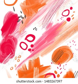 Abstract background with orange and pink spots and stains.