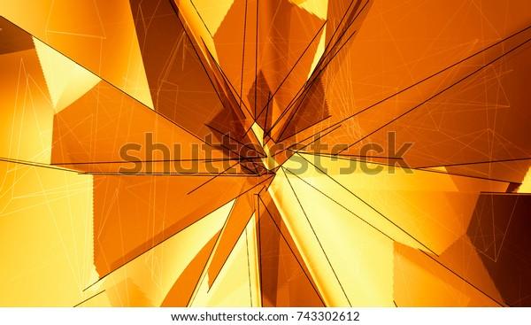 Abstract Background Orange Polygonal. Beautiful Illustration.