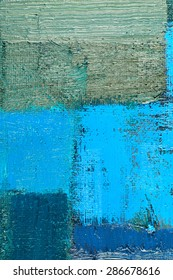 abstract background of an original oil painting in cool colors on canvas with brush strokes texture.