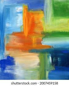 Arrière-plan abstrait avec texture peinte. Peinture abstraite colorée. Arrière-plan dessiné à la main droite avec coups de pinceau poufs