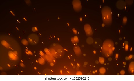 Abstract background of particles. Fire flying sparks. Burning red sparks. Fire. 4k background.