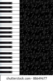 Abstract background with piano keys and musical symbols.  Raster version.
