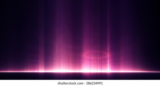 Abstract background: pillars of light rising above a distant horizon