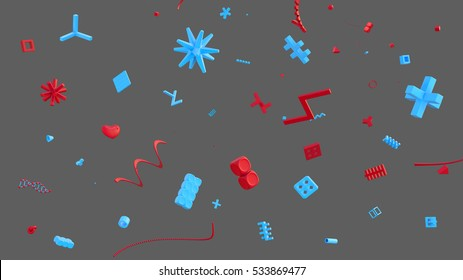 abstract background with plastic details in gray space, high resolution 3d render