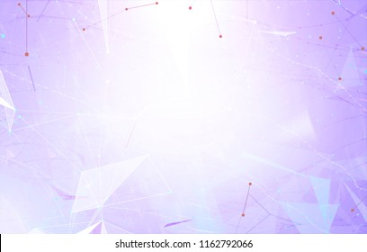Abstract background polygonal. Lines plexus in style minimalism. Bright violet digital illustration with triangles.