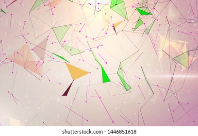 Abstract background polygons. Lines plexus in style minimalism. Digital multicolored geometric illustration with triangles.