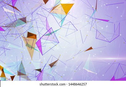 Abstract background polygons. Lines plexus in style minimalism. Digital violet geometric illustration with triangles.