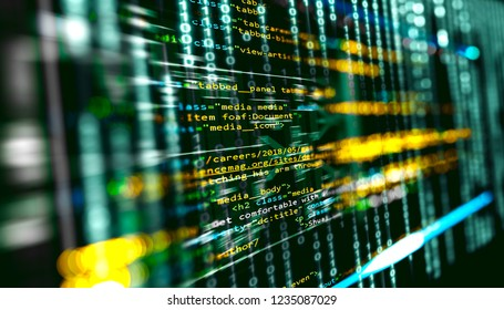 Abstract background of programming engineering and software development.Script and source code for algorithm development.Virtual image of science and technology