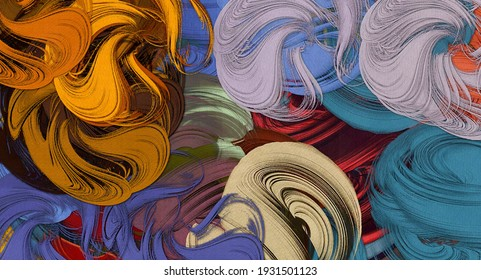 Abstract background. Psychedelic fractal, texture of brush strokes of colored paint of blurred lines and spots of different shapes and sizes